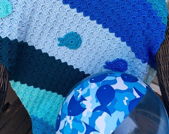 Shades of blue and teal baby blanket, whale themed baby gift, baby afghan