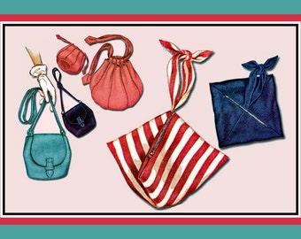 Vintage 1949-RETRO BAG COLLECTION-Sewing Pattern-4 Styles-Fun Pop-Up  Bag-Classy Handbag-Piecework-Drawstring Bag-Lined-Rare-Collectible