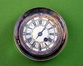 Romal Numeral Antique Gold Clock Crystal Round Paperweight Home Decor