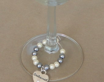 BRIDESMAID Favors Gift, Ivory & Pewter Gray Pearl Wine Glass Charm Set, Pewter Gray WEDDing, BRIDESMAID Favors, Wedding Table Decoration