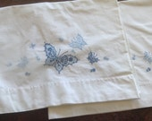 Pair of Vintage Pillowcases, Wabash, Embroidered Blue Butterflies, reserved for Pamela