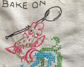Vintage Embroidered Tea Towel, Bake on Saturday, Pink Rooster with mixing spoon, tablecloth, apron