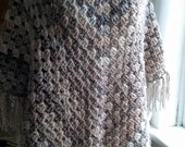 Poncho in Shades of Cream Fawn and Brown ( Ready to ship ) Woman