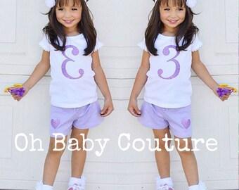 Girls Toddler Birthday Number Shirt & Matching Shorts Set for Birthday Party Photo Shoot
