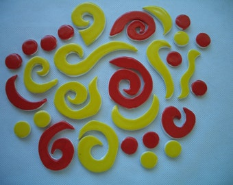30sp - RED - YELLOW Curlicues SET- Ceramic Mosaic Tiles