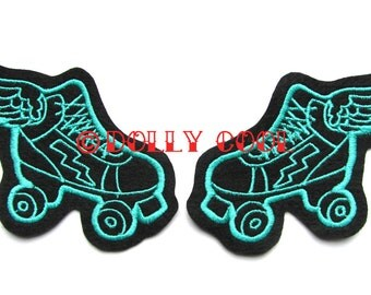 Roller Derby patch Pair of turquoise skates (more and custom colors available)