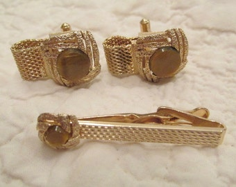 Vintage Cuff Link and Tie Clip Set Gold Tone Metal with Brown Stones SALE