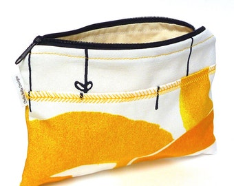 Yellow and white cosmetic bag with decorative stitching, make-up bag, gadget bag One of a Kind