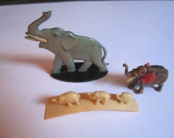 Vintage Lot of 3 Celluloid Miniature Elephant Collectible Figurines from Midwest Estate