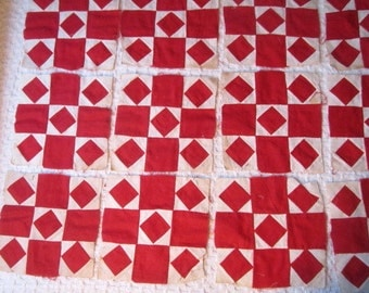 Antique Circa 1880 Wonderful Lot of 50 Handsewn Red and White Cotton Quilt Blocks