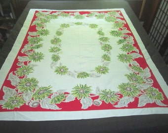 Vintage 1950s  Cotton 50x62 Kitchen Tablecloth with Red and Green Floral Design