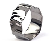 ON SALE - RIPPLE 14k White Gold Wedding Band, White Gold Mens Wedding Band, His and Hers, Unique Wedding Band for Women, Organic Gold Band