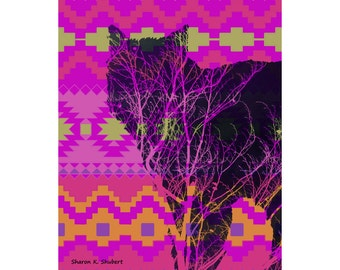 Wolf Art, Hot Pink Silhouette, Southwestern Wolves Photomontage, Native American Totem Animal, Home Decor, Wall Hanging, Giclee Print 8 x 10