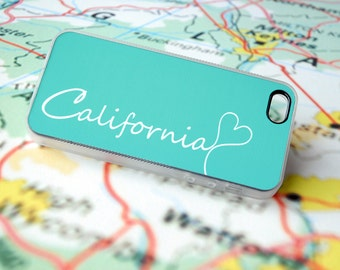 Galaxy S5 Phone case, California Custom iPhone Silicone Case - unique iphone case, back to school, tech lover, geekery, iPhone 6 Clear, Mint