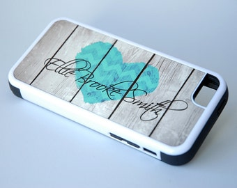 Personalized Chevron Rustic Country Heart + Monogram Protective Phone Case + teal, iPhone 6 Case, 6+