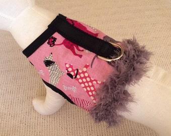 Pink Pups With Gray Fringe Dog Harness Vest