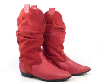 Ankle Boots Vintage 1980s Suede Flat Red Leather Slouch Short Women's size 7 1/2 B