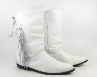 White Cowboy Boots Vintage 1980s Leather Fringe White Clicks Women's size 9