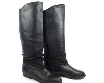 Black Leather Boots Vintage 1980s Tall Flat Women's size 6