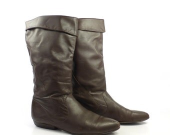 Brown Flat Boots Vintage 1980s Tall Leather Women's size 8