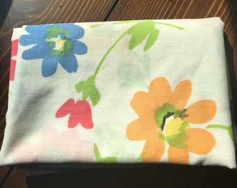 Retro Vintage Reclaimed Bed Linens Pillowcase Watercolor Flowers Blue, Red, Yellow Blooms Floral Springmade No Iron Percale Fabric