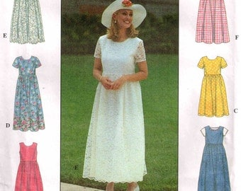 Loose Fitting Dress Prairie Style Raised Waistline Simplicity 8071 Sewing Pattern Misses Size 6 8 10  Bust 30.5 31.5 32.5 Cut and Complete