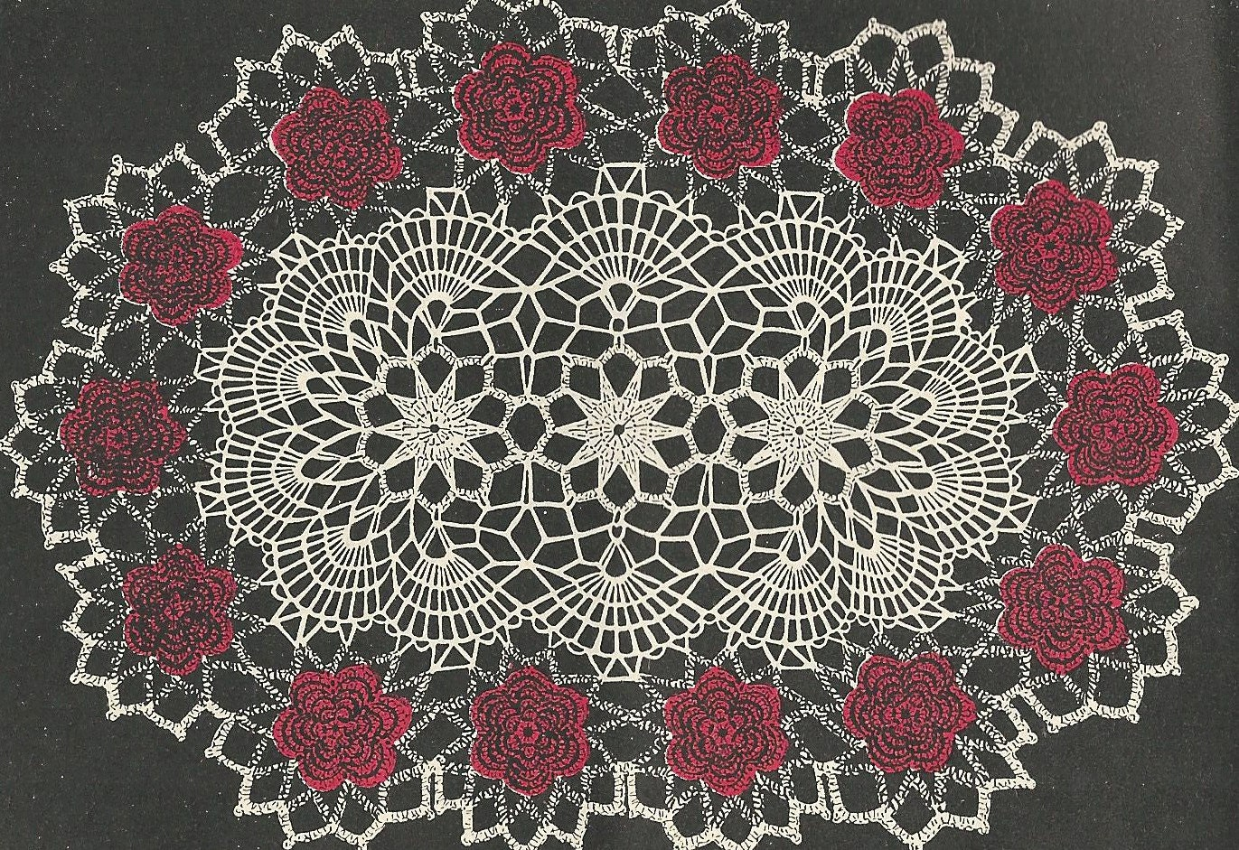 Oval rose doily crochet pattern from a 1956 workbasket a 12x18 zoom bankloansurffo Choice Image