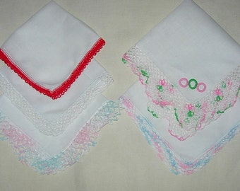 Five Vintage White Handkerchiefs with Tatted or Crochet Edges