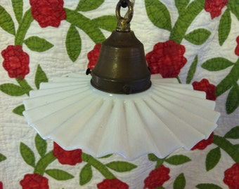 Glorious Vintage Fluted Milk Glass and Brass Hanging Light Fixture from Barneche/Stephanie Barnes