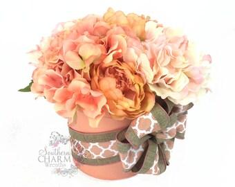 Hydrangea Centerpiece in Peach and Cream Colors with Burlap bow, Summer Arrangement, Hydrangea Arrangement,
