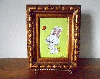 Vintage DIANE MINGOLLA Framed Art Enamel on Copper Painting, Rabbit, Green, Red, Yellow, White