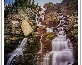 Glacier National Park, Logans Pass Falls, Silver Art Print, Landscape Photography, Waterfall Art, Mountain Wall Art,Digital Print,Home Gifts