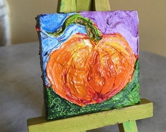 Pumpkin mini 2x2 Original Impasto Oil Painting by Paris Wyatt Llanso