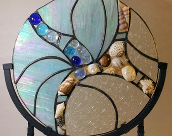 Stained Glass, Beach, Ocean, Shoreline, Water, Beachcomber, Panel, Seahells
