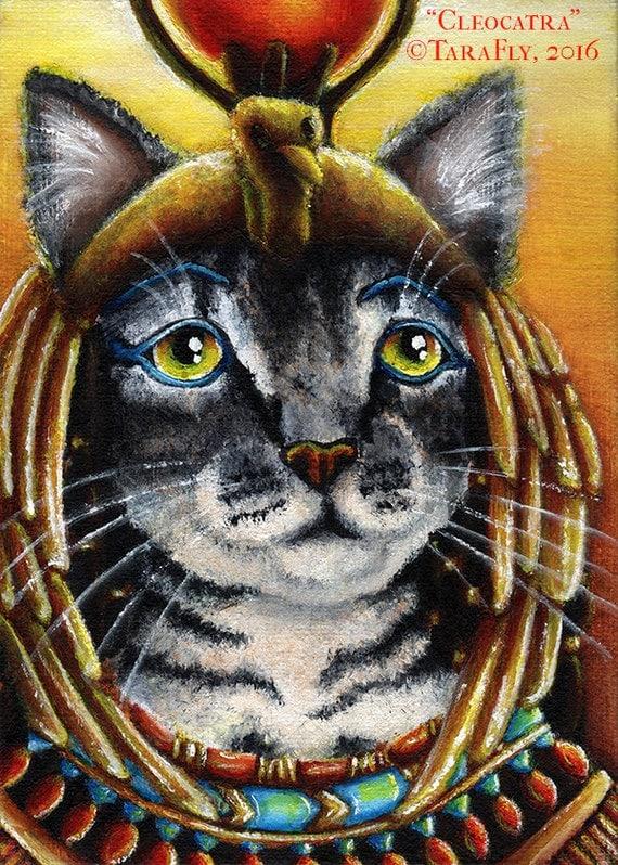 Cleopatra Egyptian Mau Cat Pharoah Goddess Fine Art Print 5x7