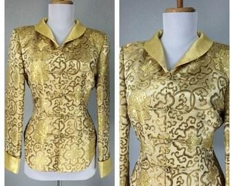 Vintage 1980s Gold Brocade Blazer Floral Metallic