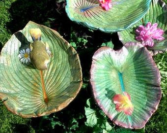 """Leaf Bird bath / feeder / garden sculpture (No. 6654, Hosta, 13x11"""") installs anywhere in garden, under rain chain, etc."""