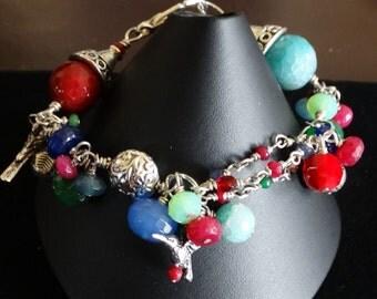 colorful quartz and silver charm bracelet