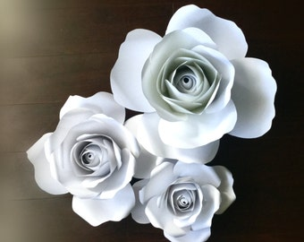 Large giant paper roses set of 3 in white great for backdrops and weddings