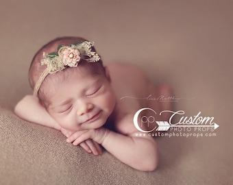 RTS Newborn Girl Tie Back Headband Photo Props, Gwen Pink Flower Hemp, Baby's  Breath, Baby Girl, Newborn Baby Photo Props, Pink Floral