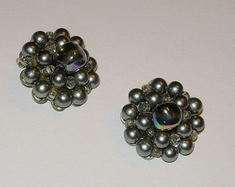 Vintage Clip On Earrings with Faux Pearls