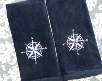 Nautical Hand Towels 2 Towels embroidered compass rose design, boat, Bathroom, Bar, Kitchen towels. Personalize them!