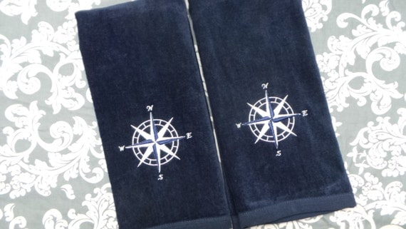 Nautical Hand Towels 2 Towels Embroidered Compass Rose Design