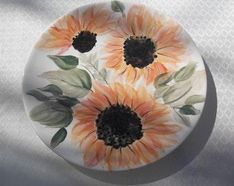 Sunflower Plate free hand painted OOAK