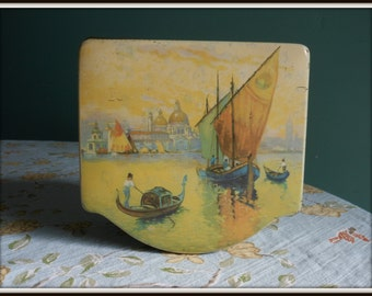 Vintage Dutch Cigar Tin Antique Rare Venice Gondola Yellow Tin Original Label Shabby Chic 1920's