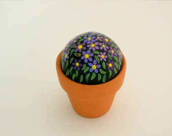 OOAK 3D art object home office decor-miniature 3D painting-fairy garden potted plant-summer gift ideas-daisy-painted rocks-amethyst lavender