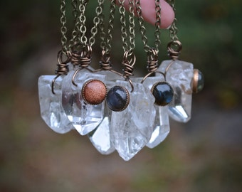 Quartz Point Necklace, Quartz Point, Labradorite, GoldStone,