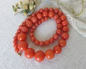 Pretty Vintage French Long Bead Necklace, Graduated Coral Coloured Beads, Vintage Jewelry, Vintage Fashion Accessory, Paris Chic Beads
