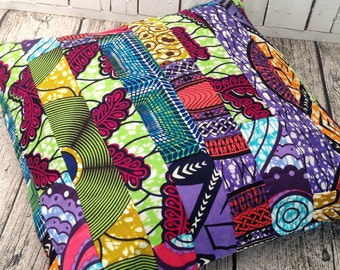 Reserved listing  African decor Patchwork cushion African pillow cover, scatter cushion, African wax print  (17 inch) Africa decorative
