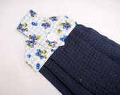 Hanging kitchen towel  button top gingham check  Blueberries